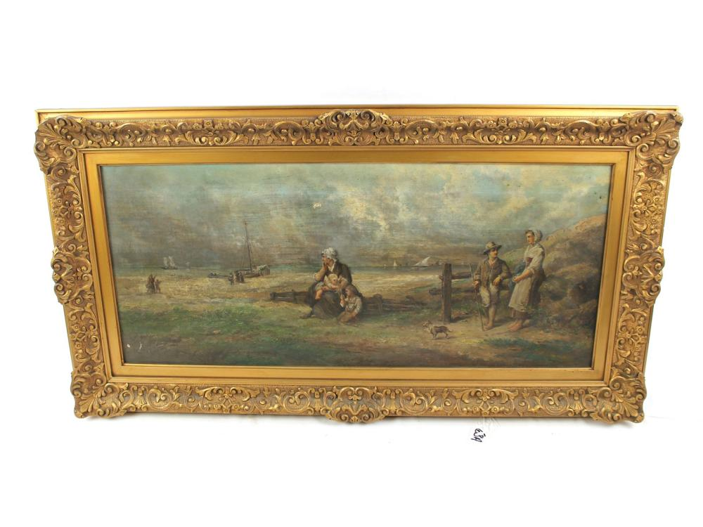 Antique Oil On Canvas Shore Scene