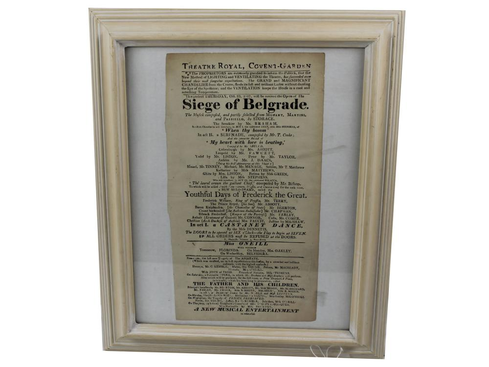 Original 1817 Broadside Siege Of Belgrade