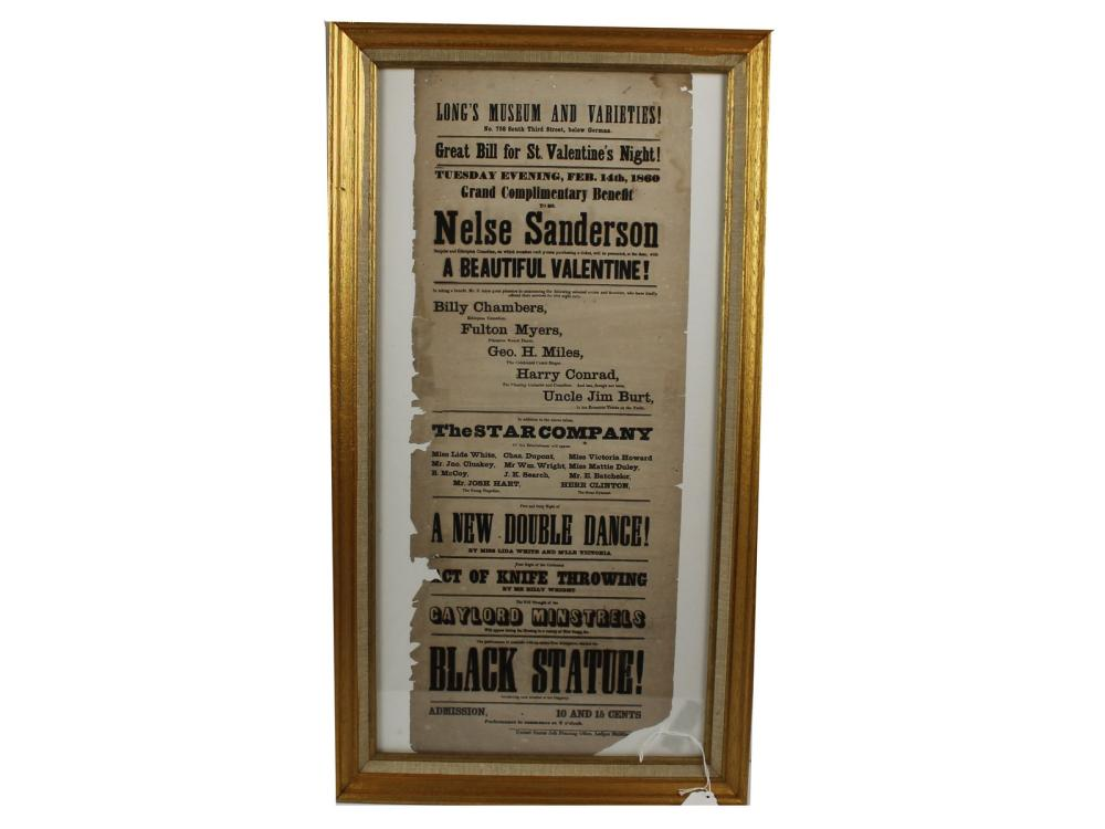 Original 1860 Musical/acting Broadside