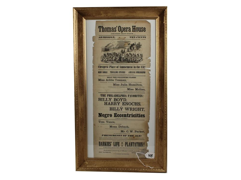 Original 19th Century Thomas Opera House Broadside