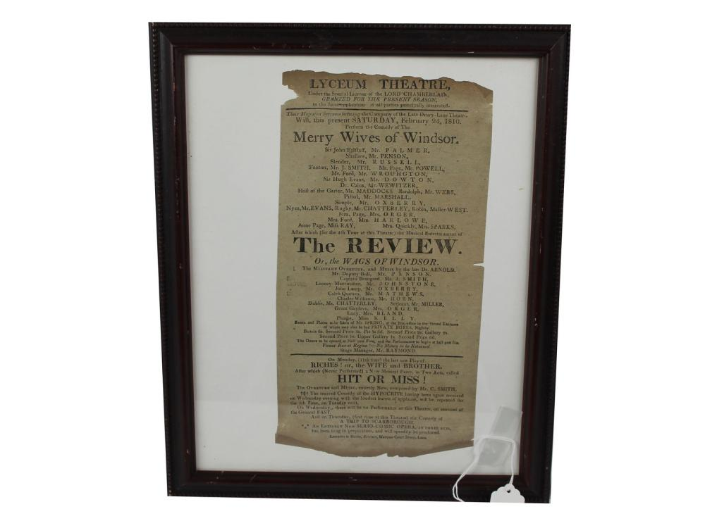 Original 1810 Lyceum Theatre Broadside