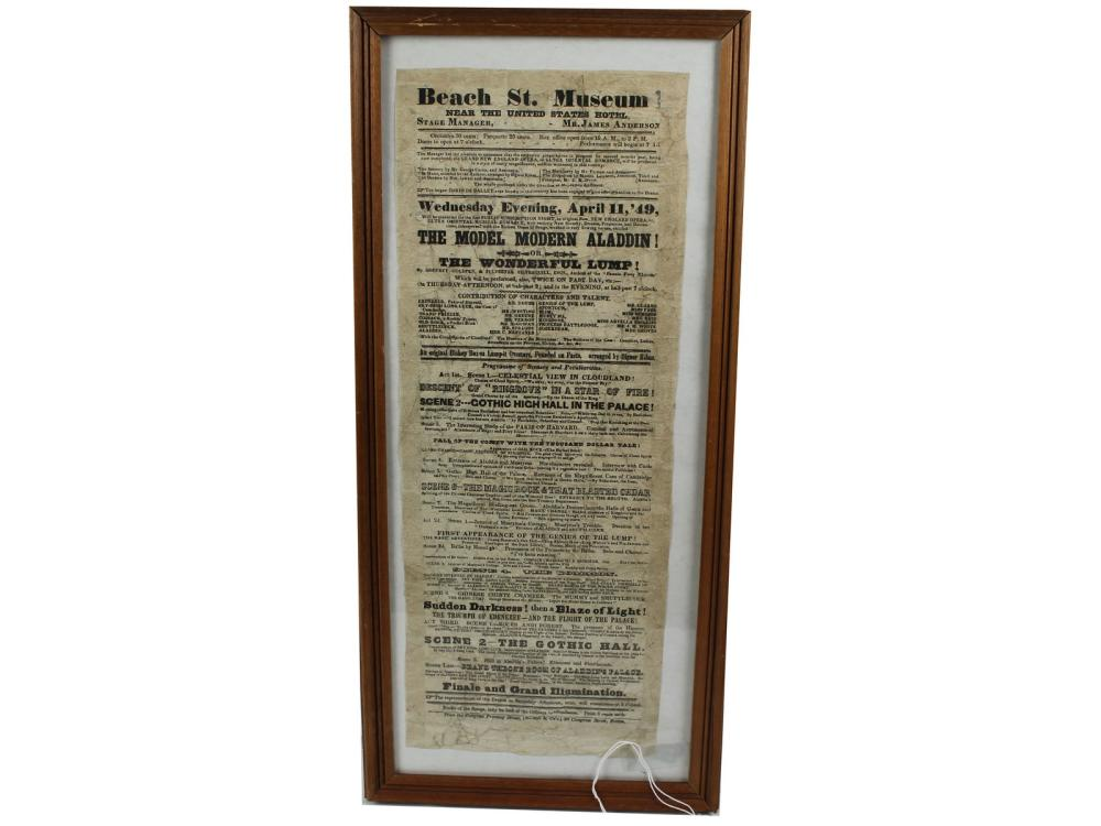 Original 1849 Beach Street Museum Broadside