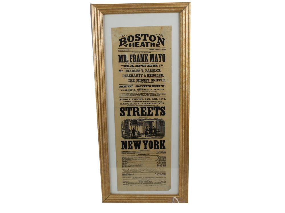 Original 1872 Boston Theatre Broadside