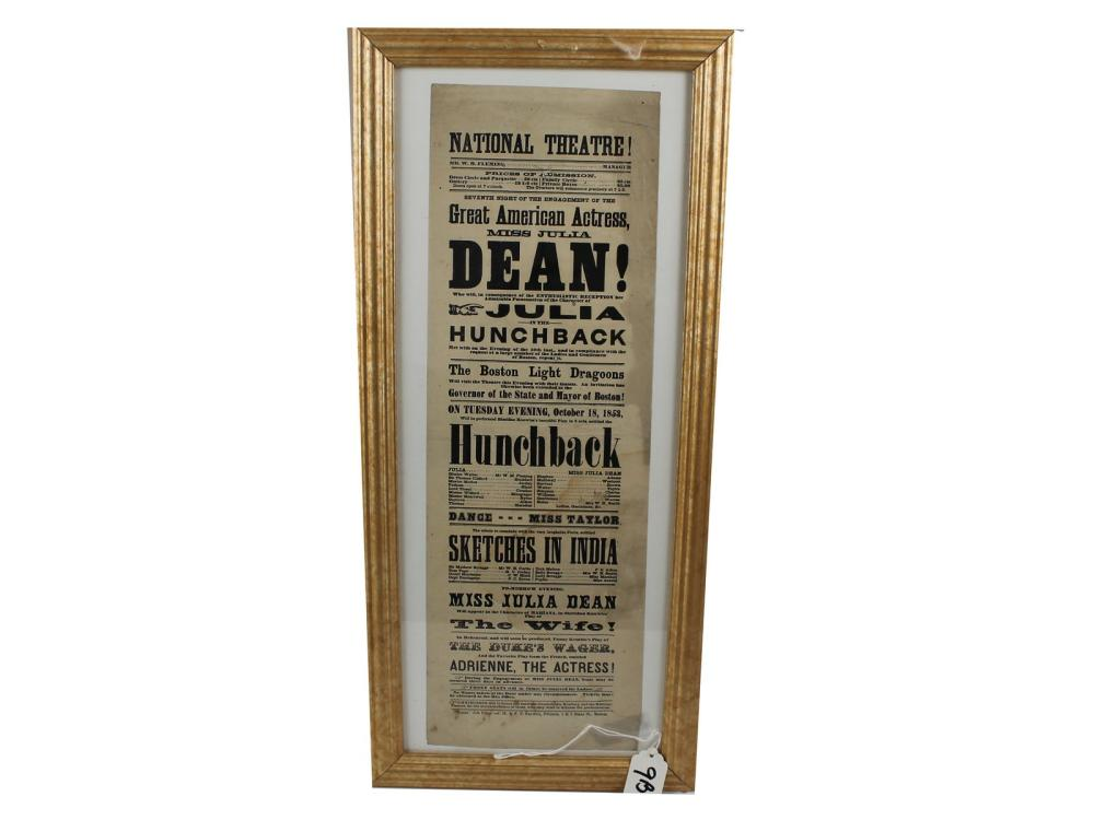 Original 1853 National Theatre Broadside