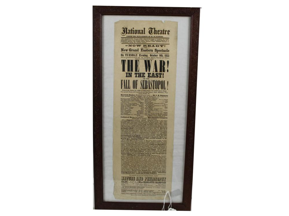 Original 1855 National Theatre Broadside
