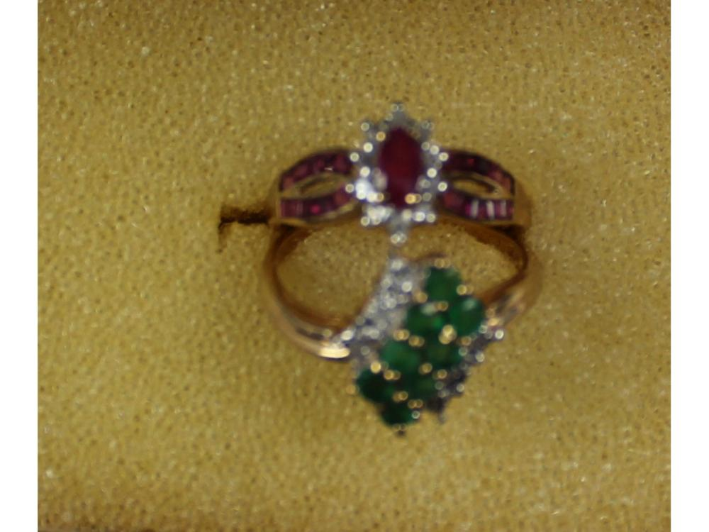 Two 10kt. Gold Gemstone Rings 4 Grams