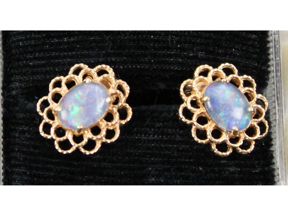 Pair Of 14kt. Gold Opal Earrings 3 Grams