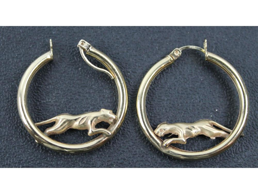 Pair Of 14kt. Gold Cheetah Hoop Earrings 5 Grams