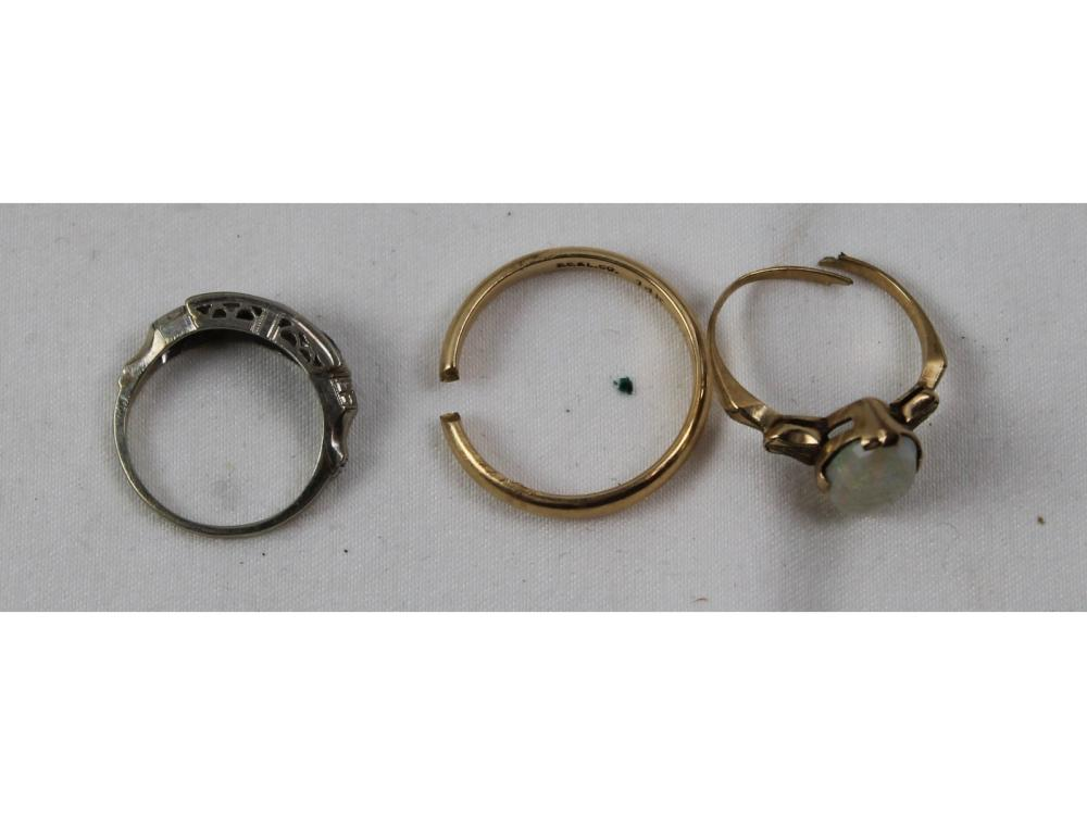 Three Gold Rings 10kt. And 14kt. 7 Grams