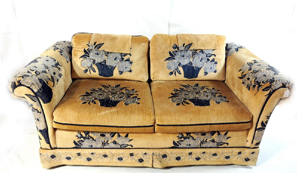 3 Piece Furniture Lot To Include 2 Wingback Chairs One Blue The