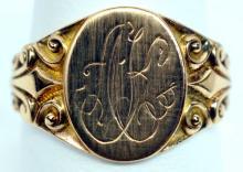 Men's Ladies 10k Yellow Gold Signet Ring Size 9