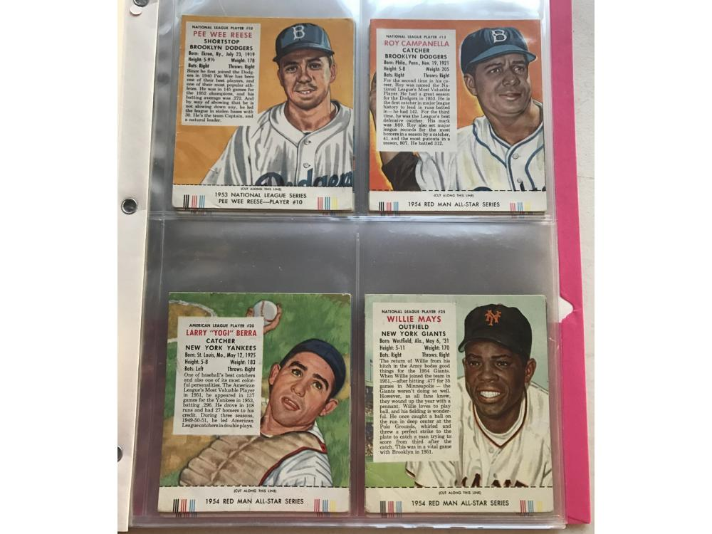 42 1952-55 Red Man Tobacco Baseball Cards