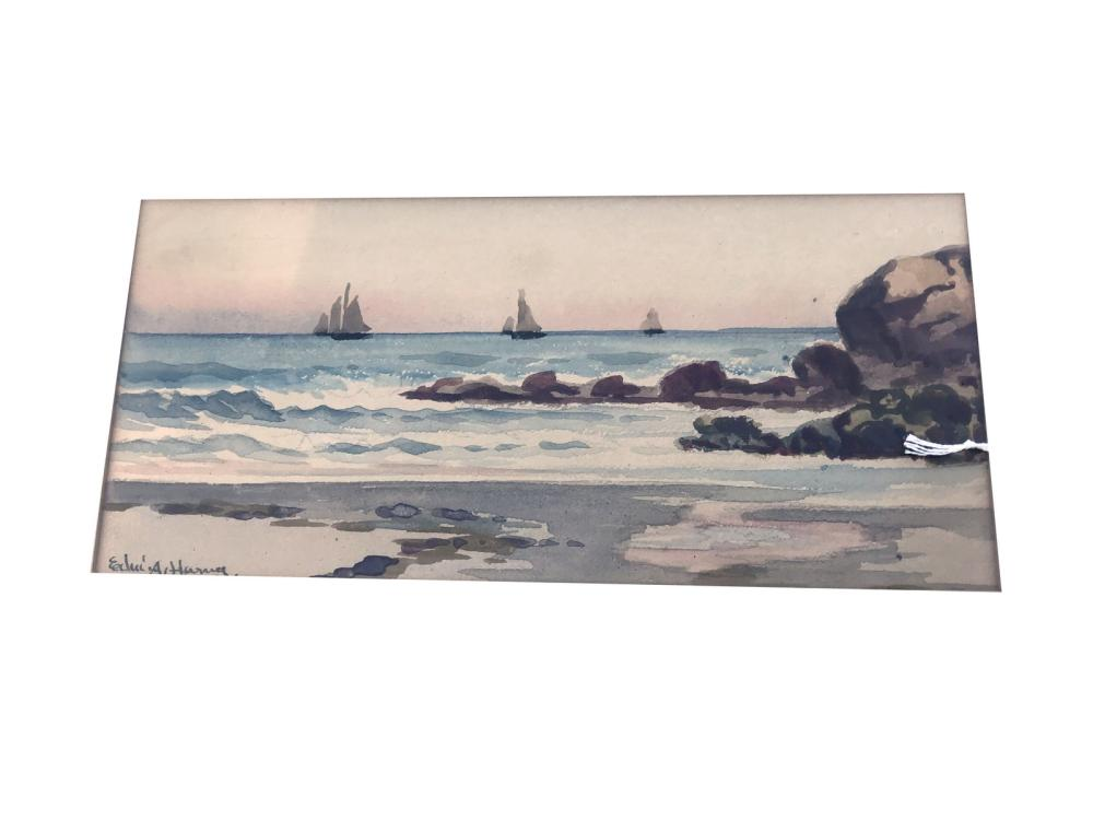 Watercolor On Paper Maine Shore  By E.harrig