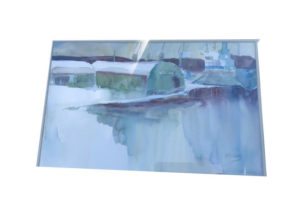 Two Watercolors On Paper N.brown
