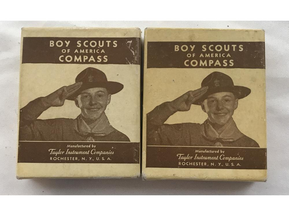 Two Bsa Boy Scouts Compass In Original Boxes