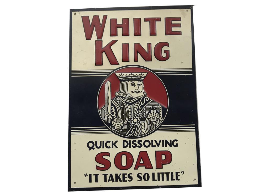 Vintage White King Soap Tin Advertising Sign