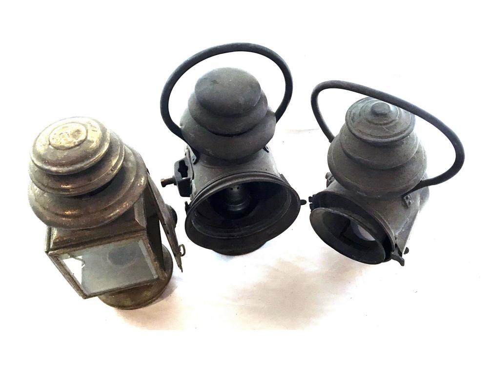 3 Antique Railroad Lamps