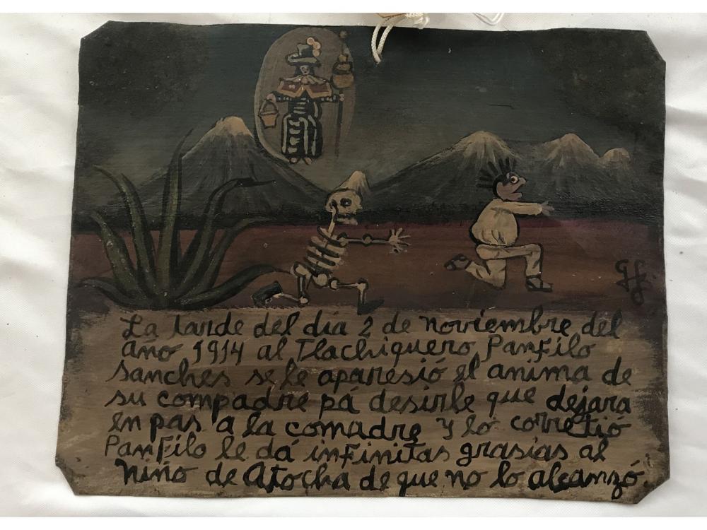 Mexican Folk Art Retablo Tequila Farmer