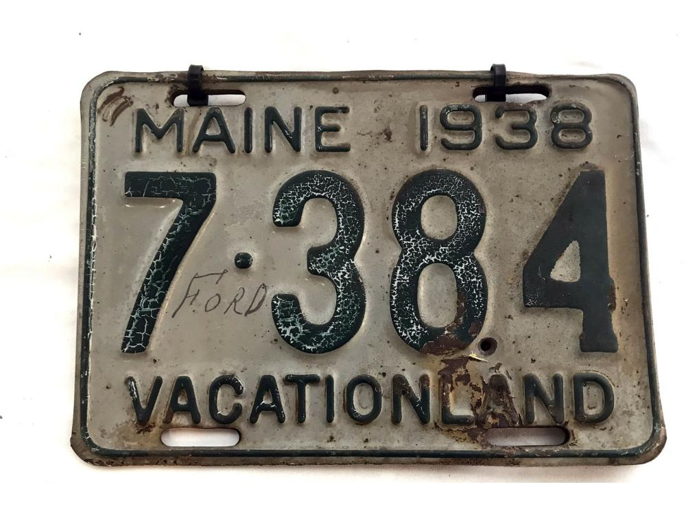 6 1930's And 40's Maine License Plates