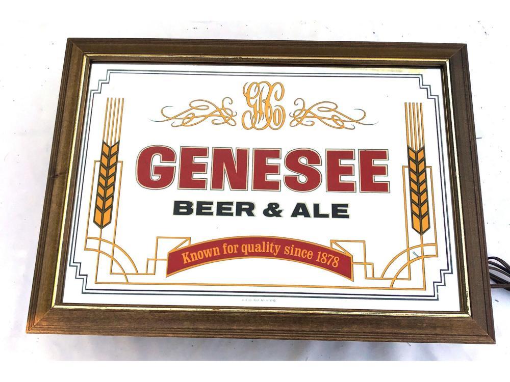 Two Vintage Genesee Light Up Beer Mirrors
