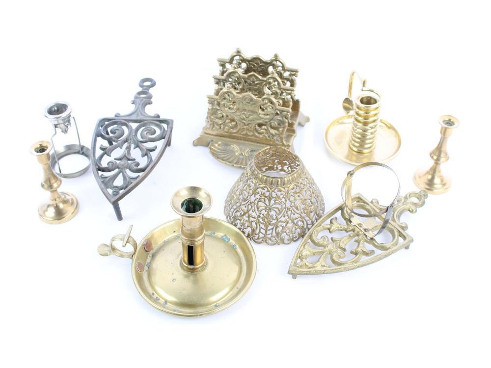Antique Brass Items Trivet, Candle Holder