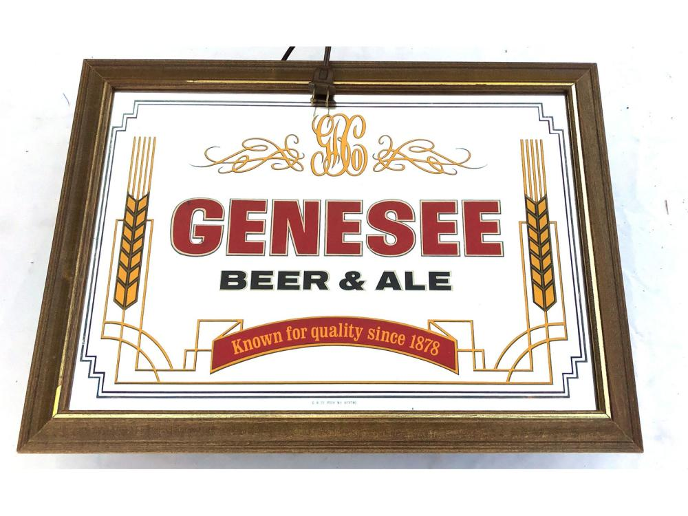 Two Genesee Light Up Beer Mirrors