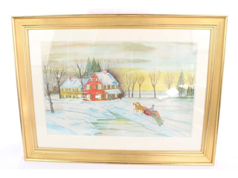 Watercolor New England Scene