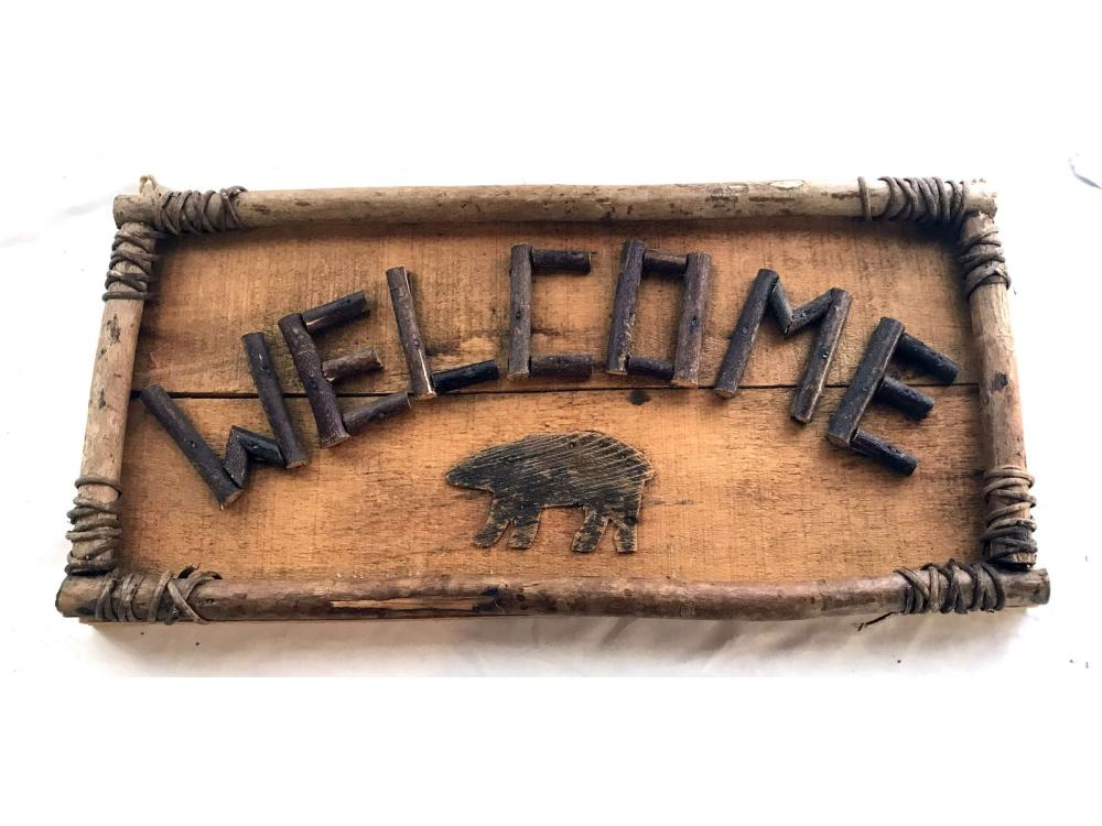 Rangeley Maine Folk Art Welcome Sign