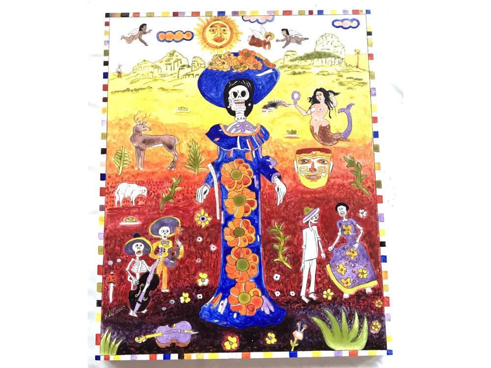 Original Mexican Folk Art On Board