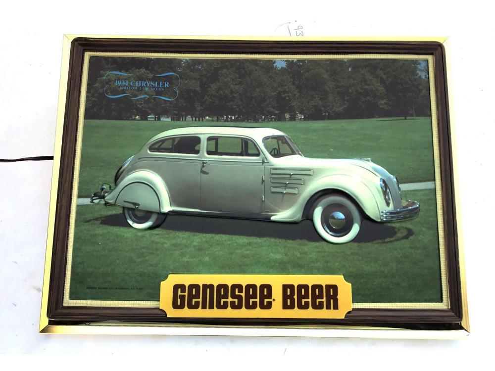 Vintage Genesee Beer Chrysler Shadow Box