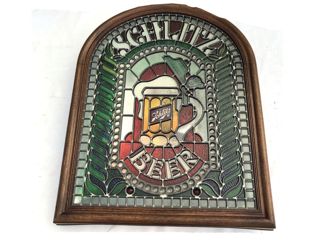 Vintage Schlitz Stained Glass Back Beer Sign