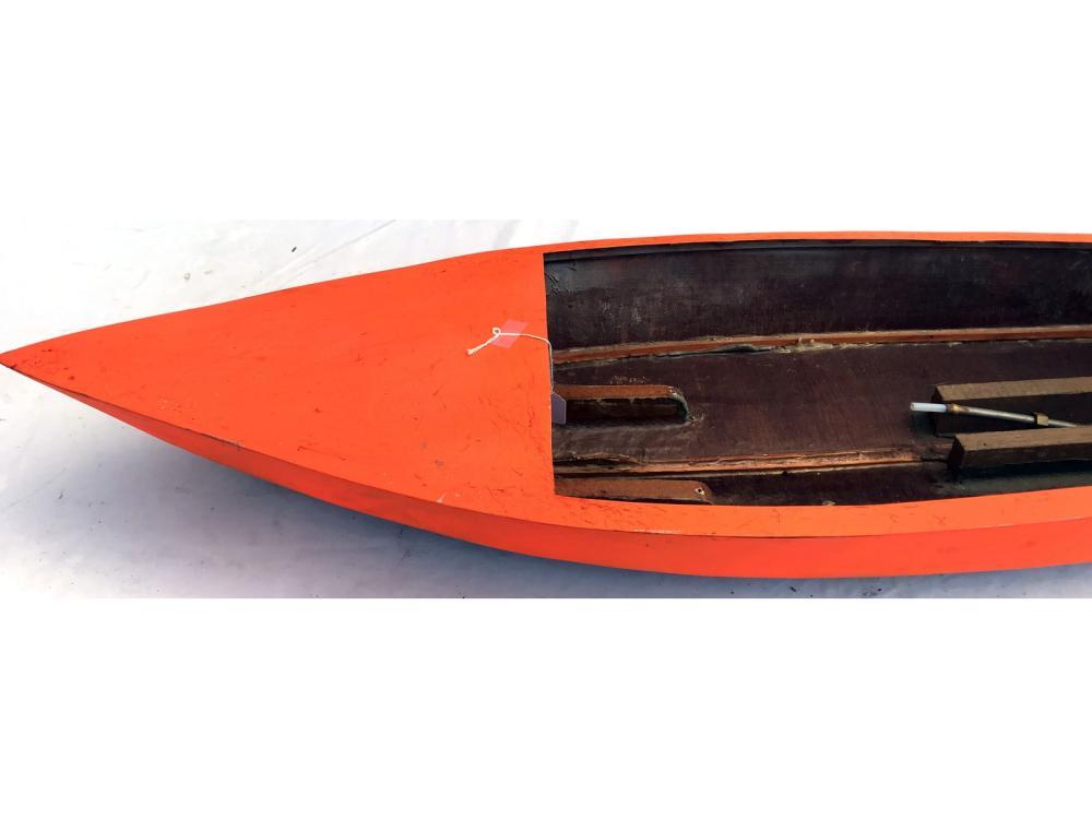 """Vintage Wood Boat Model Bright Orange 44"""""""