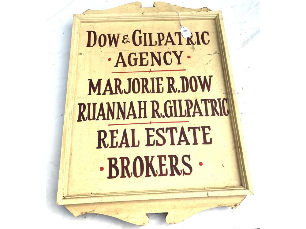 Vintage Two Sided Real Estate Sign Hand Painted