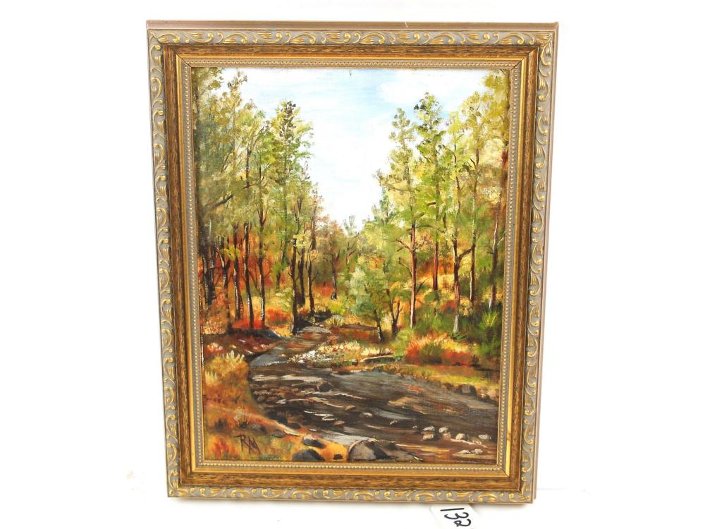 Oil On Canvas Landscape Signed Rm