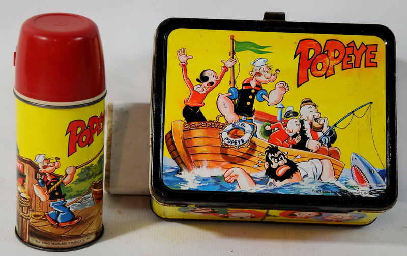 1964 King Seeley Thermos Co. Popeye Lunch Box with Thermos. Features Popeye, Bludo, Olive Oil, Wimpy...Etc. Nice Condition with Great Color.
