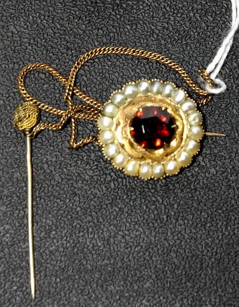 Gold with Garnet and seed pearls pin dated 1854