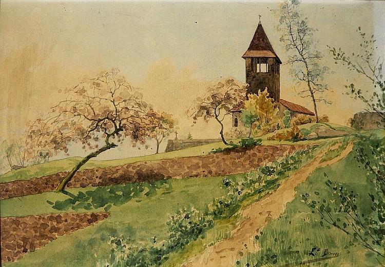 Édouard BRUN (1860-1935).  Eglise et le verger, aquarelle, signé en bas à droite,22.5 x 32 cm.