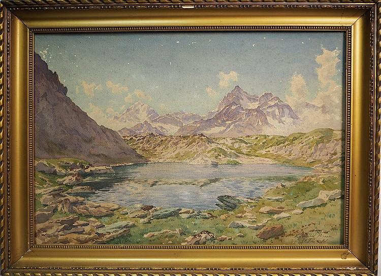 Édouard BRUN (1860-1935).  Vue du Lac de Riffel (Suisse).