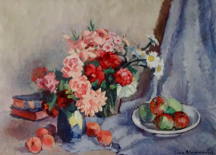 Leo ABRAMOWICZ (1889-1978). Nature morte au bouquet et