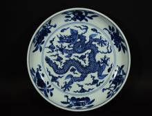 A BLUE AND WHITE DRAGON PLATE