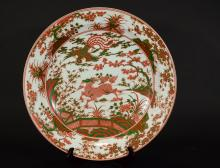 A KANGXI MARK GLAZED RED AND GREEN QILIN PHOENIX PLATE
