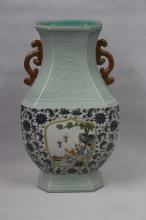 QIANLONG MARK, A BLUE AND WHITE FAMILLE ROSE VASE
