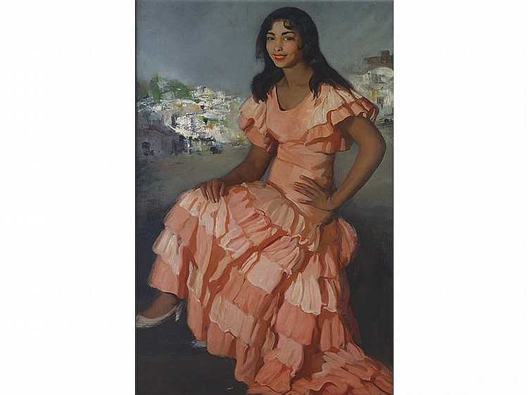FRANCISCO SORIA AEDO (Granada, 1898-Madrid,1965) - La golondrina. Muchacha con vestido rosa