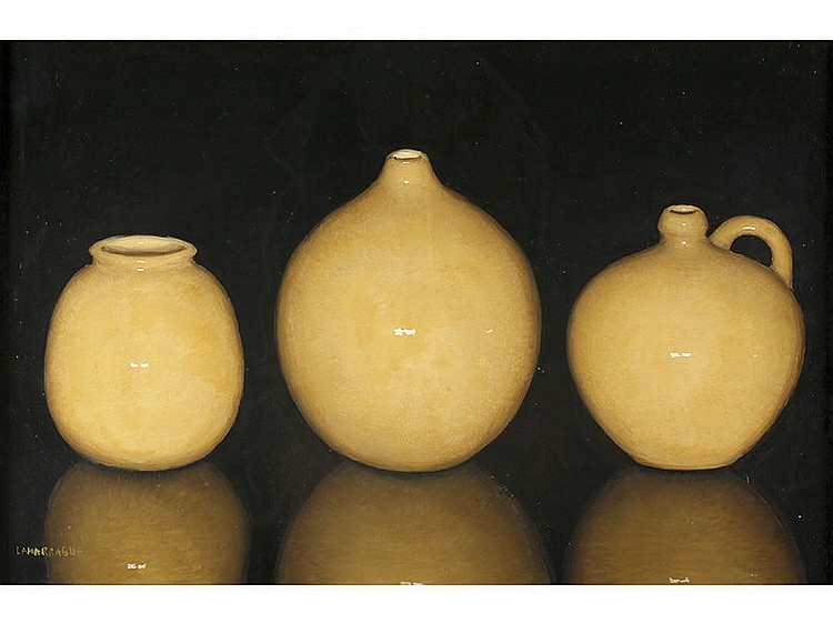 CARLOS LAHARRAGUE (Madrid, 1936) - Still life of yellow ceramics