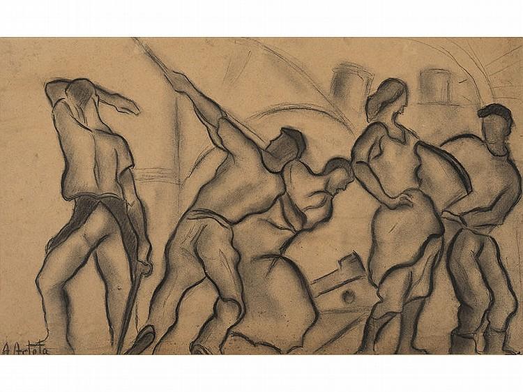 AURELIO ARTETA (Bilbao, 1879-Mexico 1940) - Stevedores on the dock