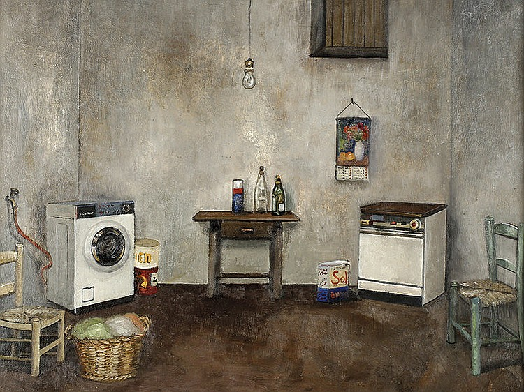 AMALIA AVIA (Santa Cruz de la Zarza, Toledo 1930-Madrid 2011) - Indoors with washing machine