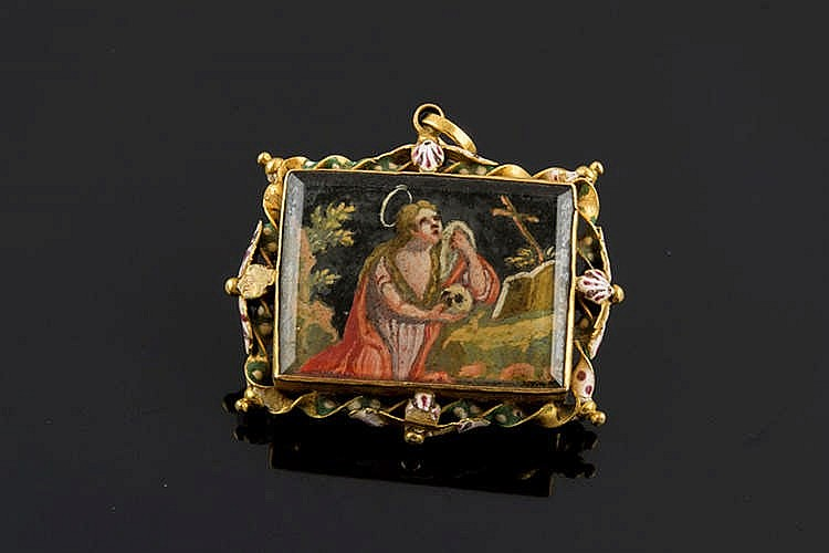 A GOLD AND ENAMEL RELIQUARY PENDANT, LATE 18TH/EARLY 19TH CENTURY