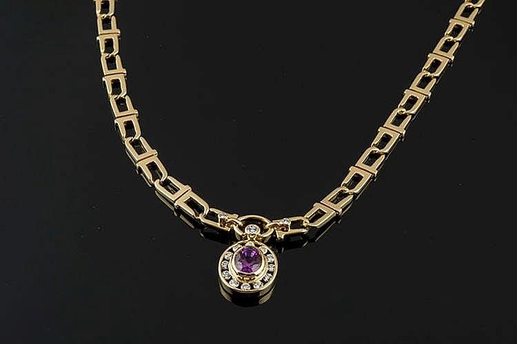 A GOLD, CORUNDUM AND DIAMOND NECKLACE, BY PUIG DORIA