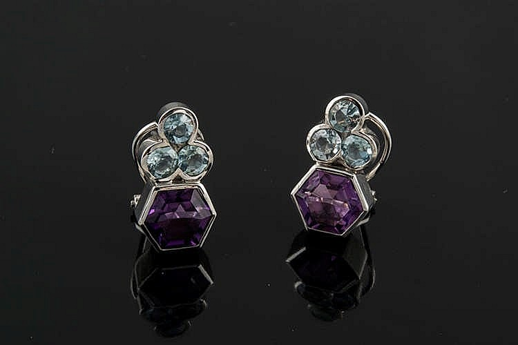 A PAIR OF GOLD, AMETHYST AND AQUAMARINE EARRINGS