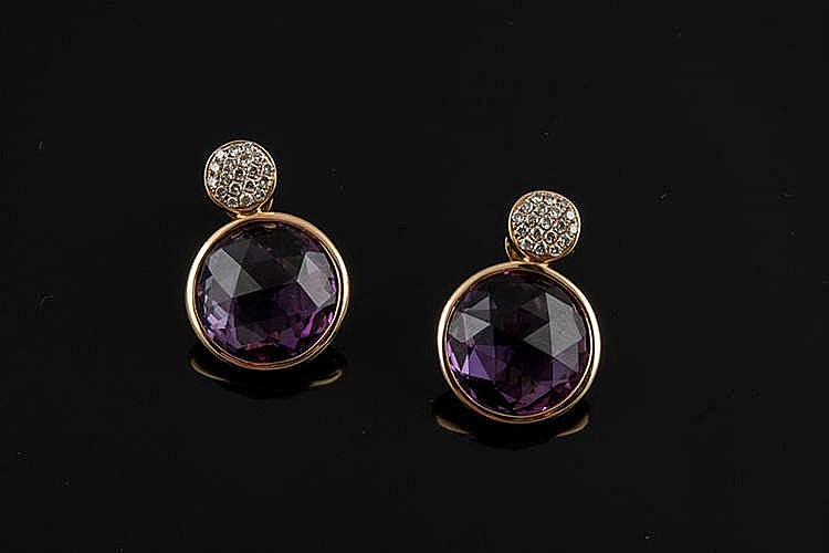 A PAIR OF GOLD, AMETHYST AND DIAMOND EARRINGS